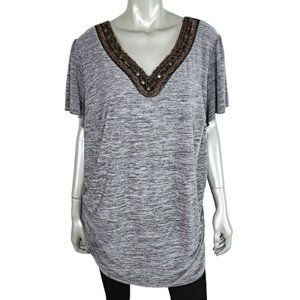 AGB Gray Ruched Side Beaded Top Plus Size 3X